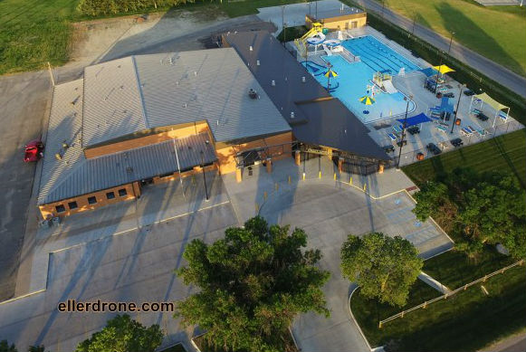 Aerial view of Armory, Wellness Center & Aquatic Center